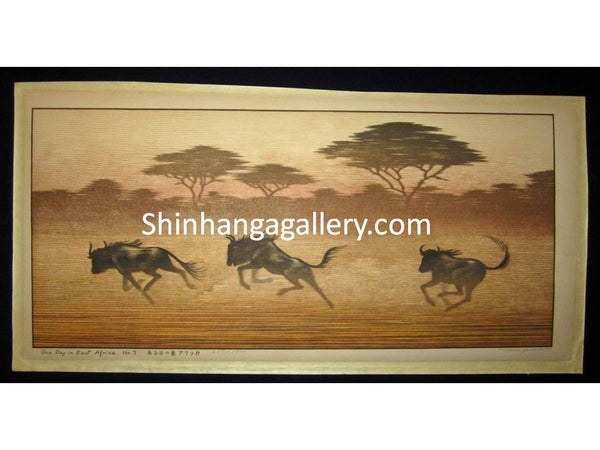"ORIGINAL Japanese woodblock print""One Day in East Africa"" PENCIL SIGNED by  Toshi Yoshida (1911-1995) made in 1982"