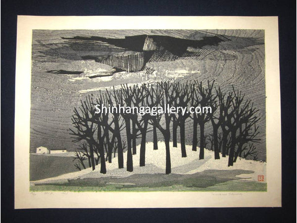 "This is a HUGE very beautiful and rare original LIMITED NUMBER (19/50) Japanese Shin Hanga woodblock print ""Hayashi no Oka Hilly Forest "" PENCIL SIGNED by the famous Showa Shin Hanga woodblock master Tamami Shima (1937-1999) made in 1961 IN EXCELLENT CONDITION."