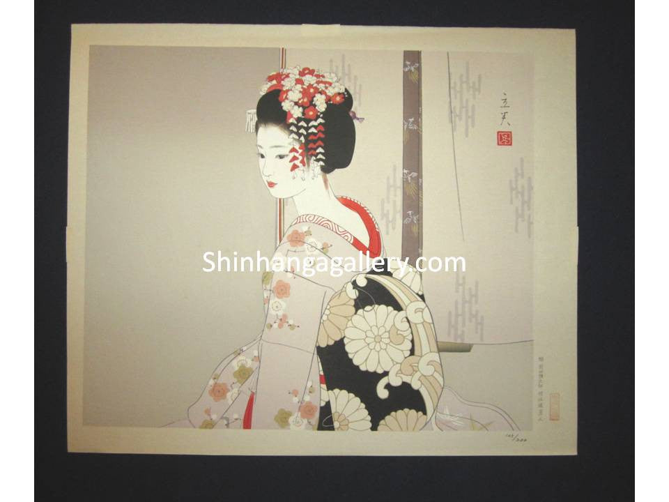 "This is AN EXTRA LARGE very rare, beautiful and LIMITED-NUMBER (105/200) original Japanese woodblock print ""Maiko"" from the Series ""Modern Beauties Bijin Ga, Gendai Bijin Fuzoku Gotai"" PENCIL SIGNED by the famous Shin-Hanga artist Shimura Tatsumi (1907-1980) published by the famous printmaker YoYoDo in 1970s IN EXCELLENT CONDITION."