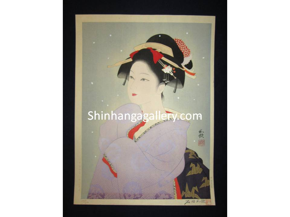 "original Japanese woodblock print ""Spring Snow"" SIGNED by Ishida Waka (1922 -) published by  YuYudo in 1960s"