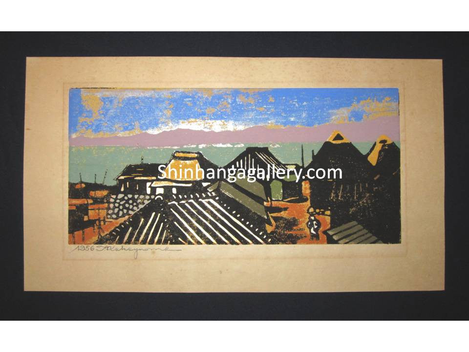 "This is a HUGE very beautiful and rare original Japanese Shin Hanga woodblock print ""Village "" PENCIL SIGNED by the famous Showa Shin Hanga woodblock master Tadashi Nakayama (1927-2014) made in 1956."