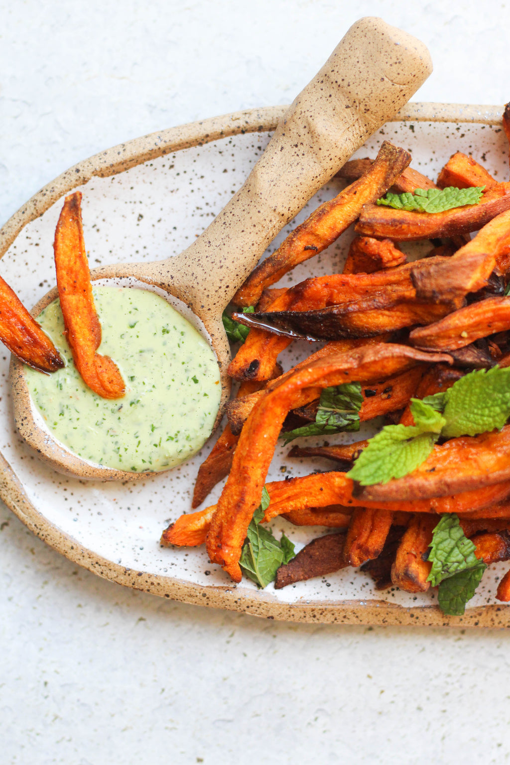 Whole 30 Sweet Potato Fries with Homemade Mayo & Spicy Arugula Dipping Sauce