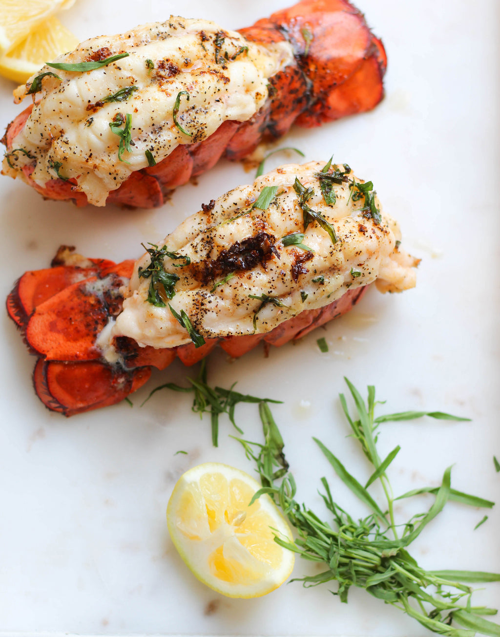 Grilled Lobster Tails with Melted Butter & Tarragon