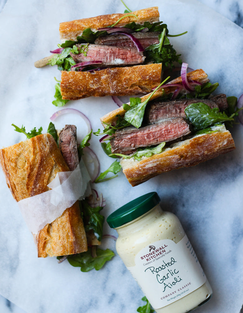 Steak Sandwich with Stonewall Kitchen Garlic Aioli