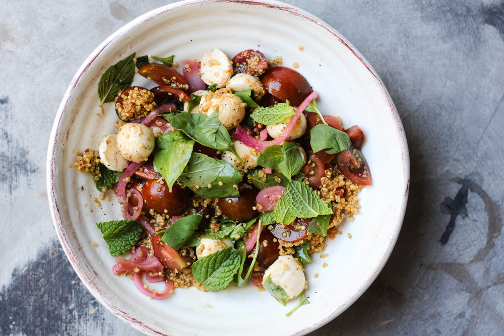 Easy Caprese Side Salad with Pickled Red Onions and Quinoa
