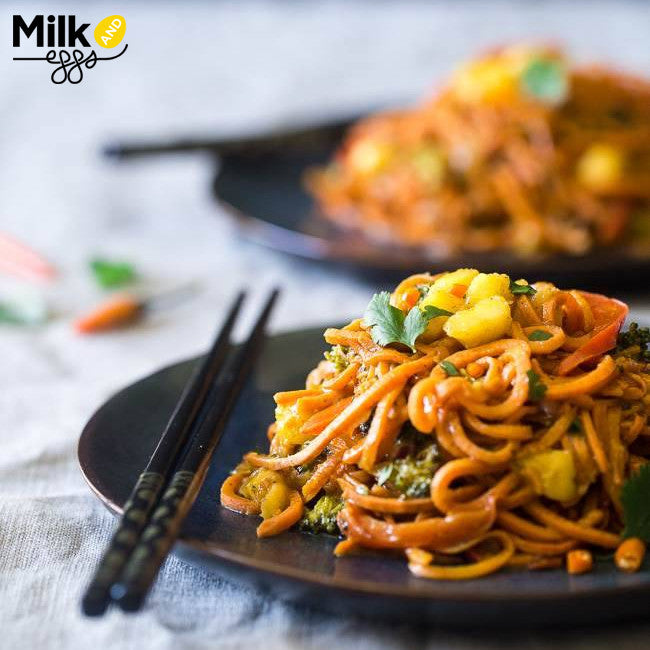 Vegan Coconut Curry with Sweet Potato Noodles Vegetarian Recipe - Gluten Free and Dairy Free!