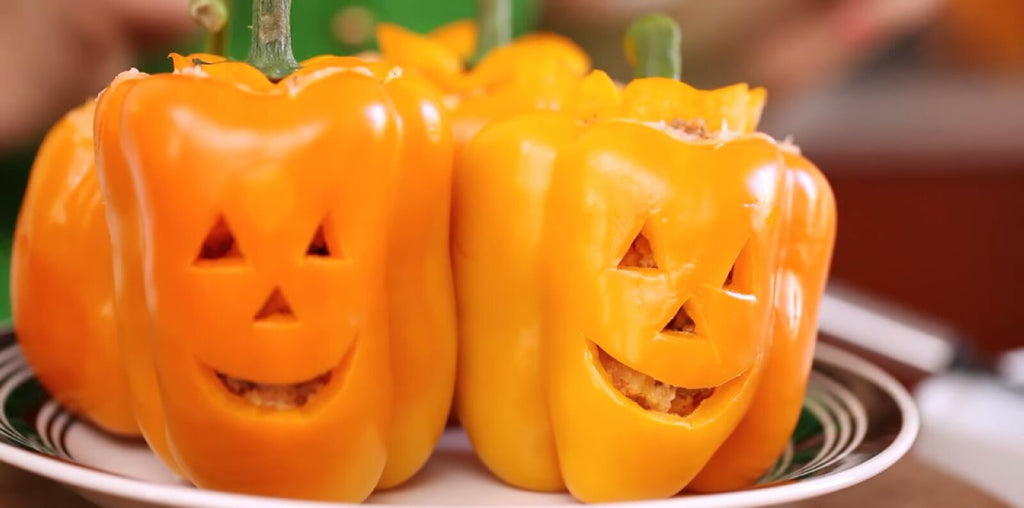 Jack-O-Pepper: Stuffed Jack-O-Lantern Bell Peppers