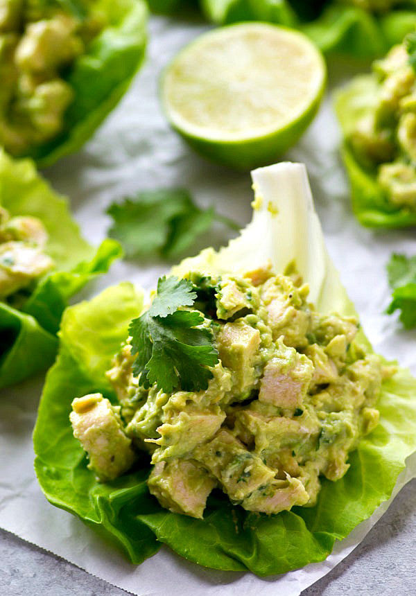 Avocado Chicken Salad Lettuce Wraps