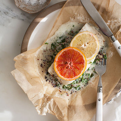 Halibut with Blood Orange in a Papillote