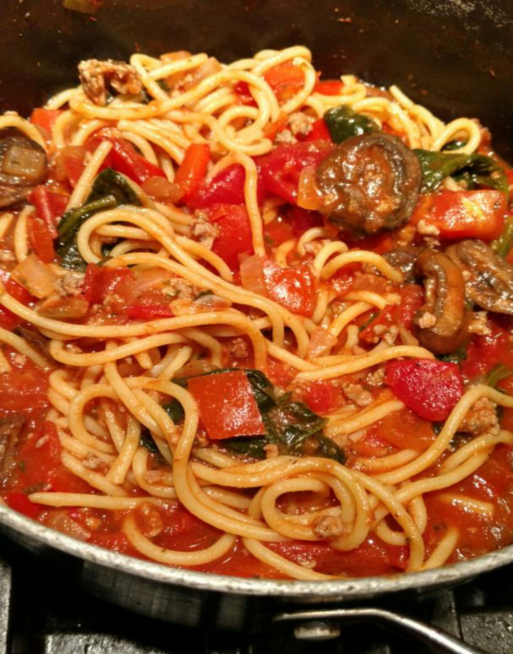 Quick Weeknight Spaghetti Dish with Veggie Meat Sauce