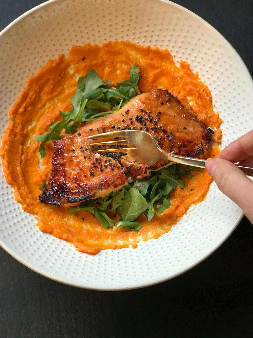 Miso In Love Salmon Bowl With Maple Butternut Squash Purée and Bitter Greens