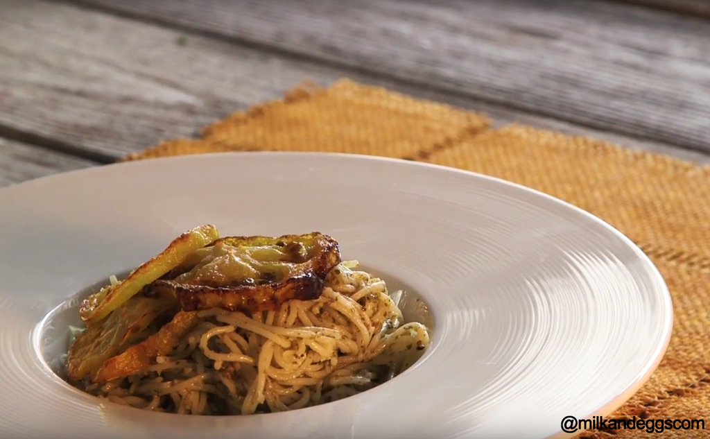 Pesto Angel Hair Pasta with Roasted Yellow Tomatoes Recipe (Video)