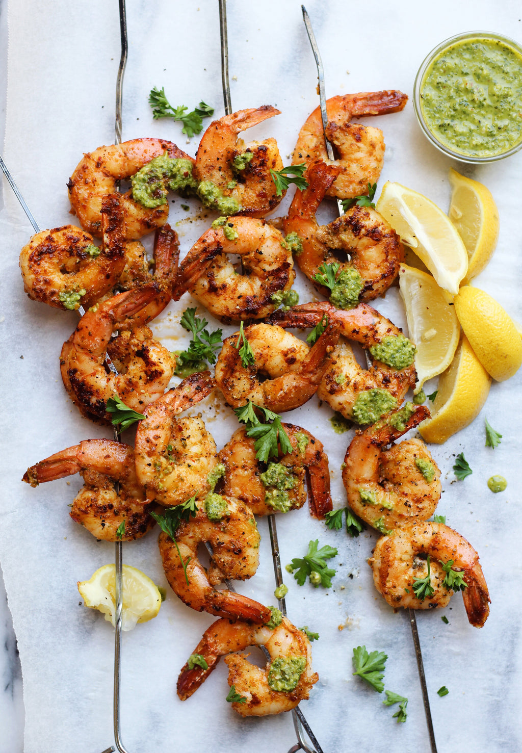 Shrimp Skewers with Peanut Pesto