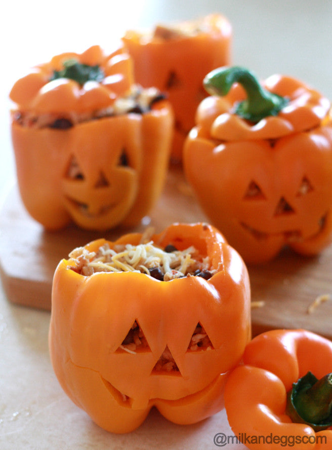 Shredded Chicken and Rice Stuffed Peppers - Jack-O-Lantern Halloween Recipe