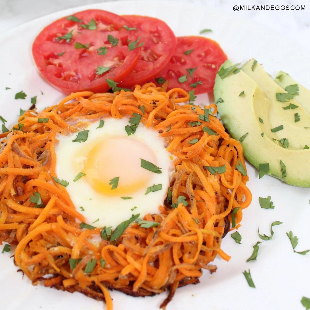 Spiralized Sweet Potato Egg in a Hole Easy Recipe