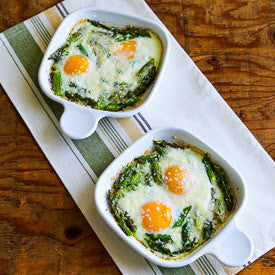 Baked Eggs and Asparagus with Parmensan