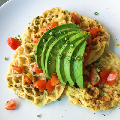Spinach and Mushroom Mini Egg Waffles