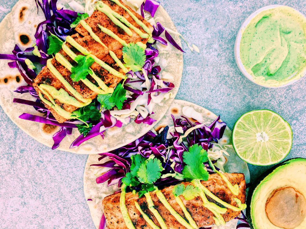 Honey-Chipotle Salmon Tacos w/Avocado Aioli by Kale and Coconuts