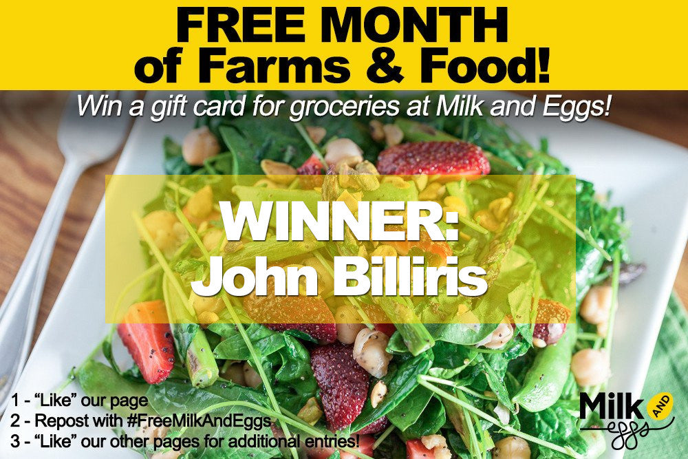 Milk and Eggs Giveaway! Free Groceries for a month!