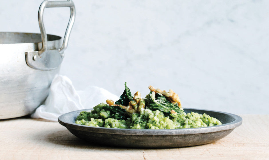 Oven Roasted Risotto with Kale Pesto Recipe