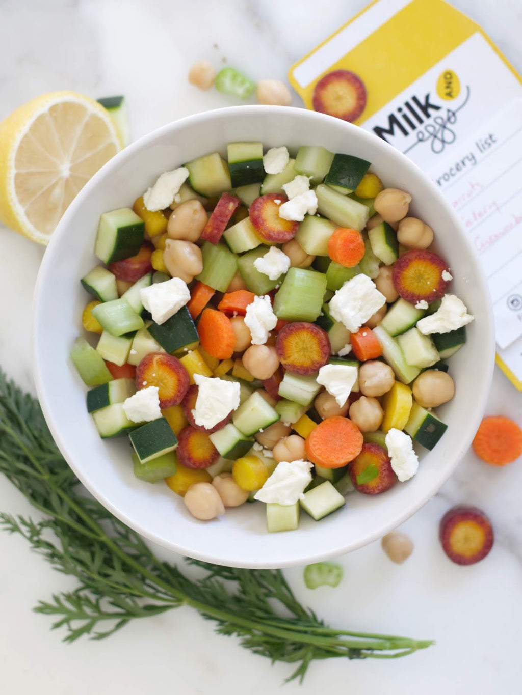 Fresh and Healthy Chickpea, Carrot, Cucumber and Celery Salad