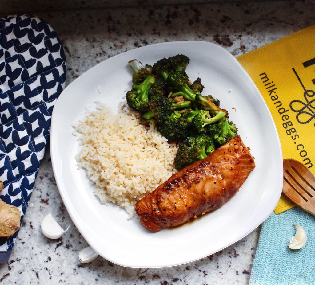Salmon in a Soy Sauce Marinade with Broccoli and Rice