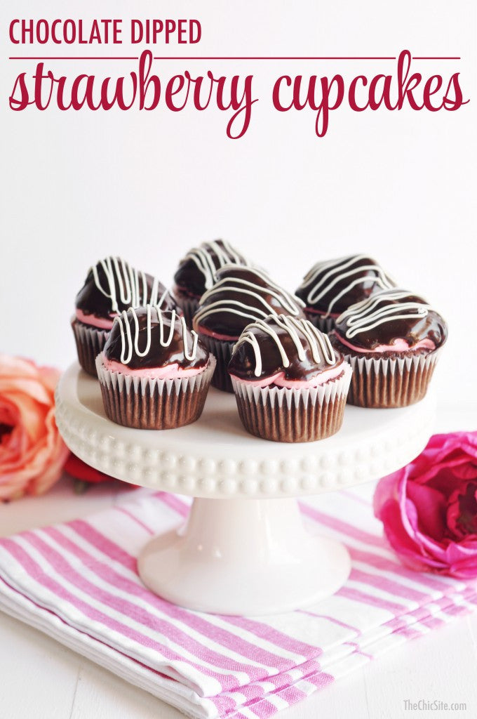 Chocolate Dipped Strawberry Cupcakes
