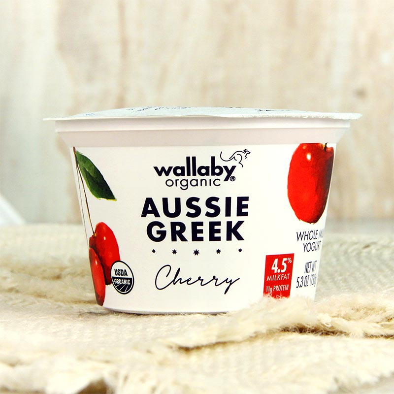 Wallaby Organic Greek Yogurt Whole Milk Cherry