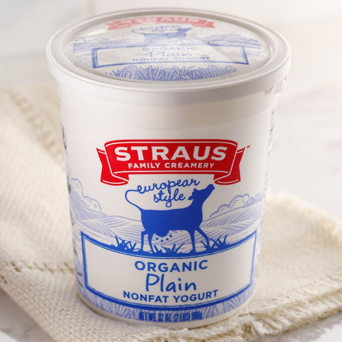 Straus Organic Nonfat Yogurt Plain - Milk and Eggs - 1