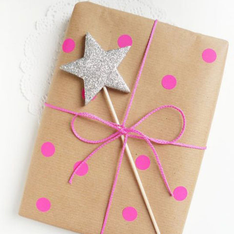 hot pink fluro wrapping with silver star