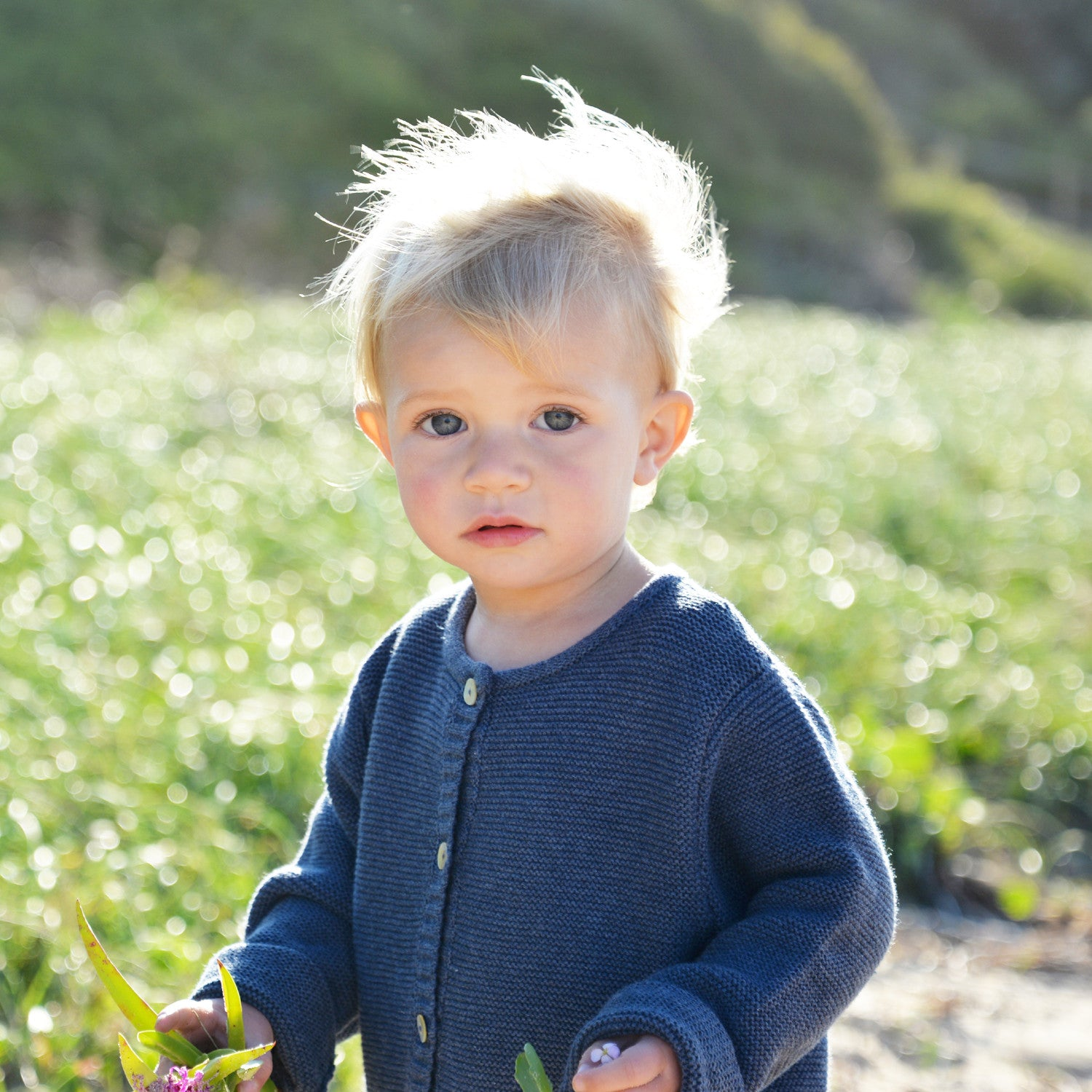 girl in indigo marle baby cardigan
