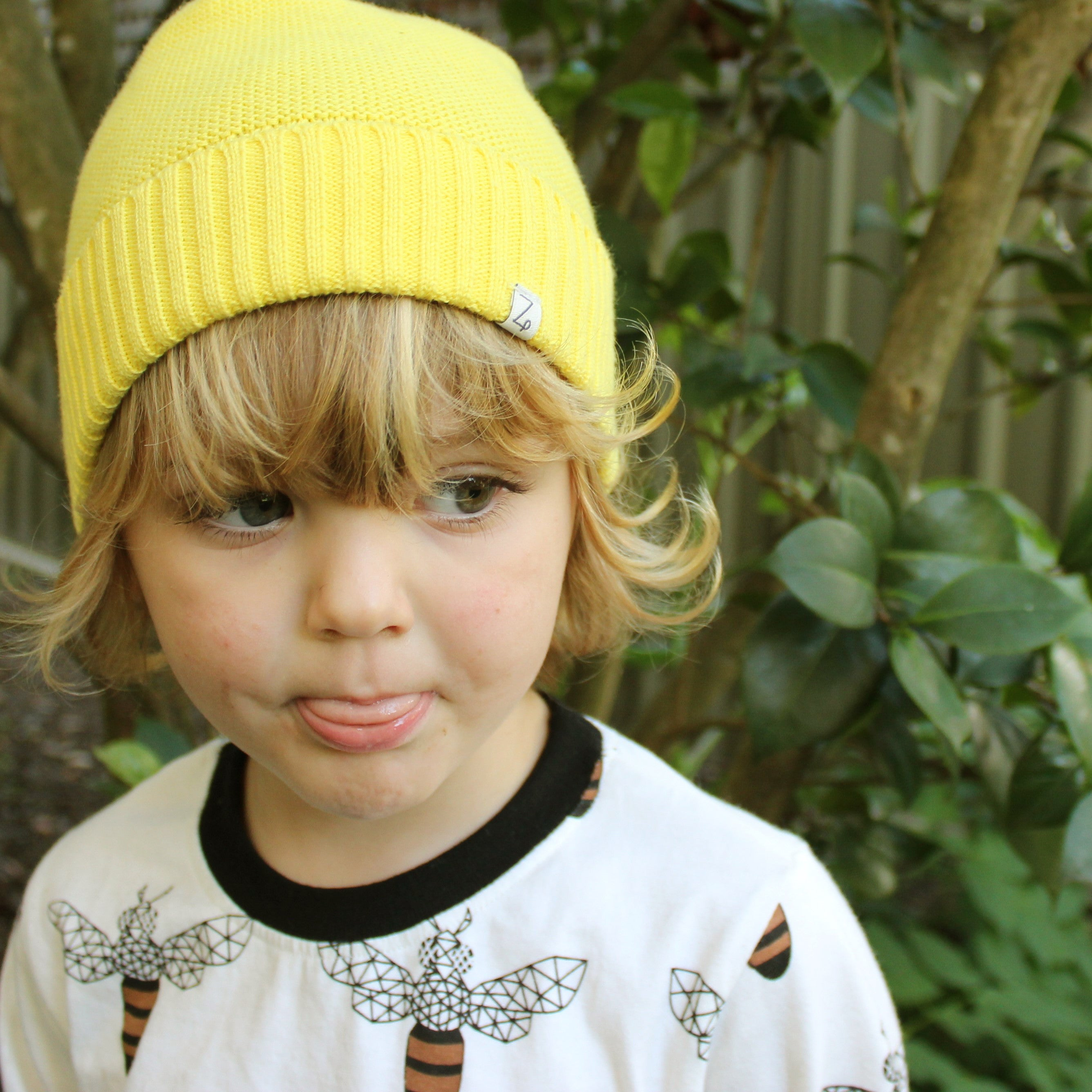 sunshine yellow beanie front