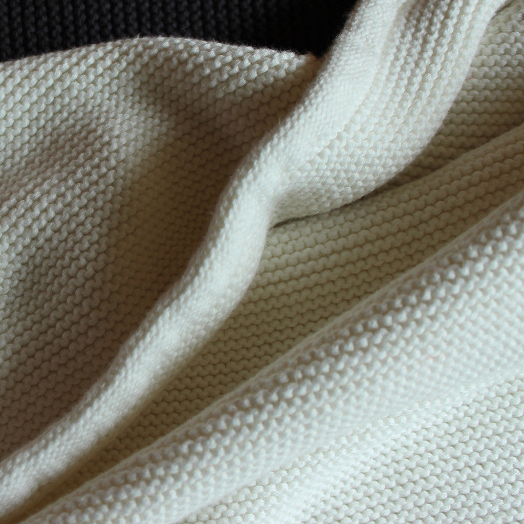 white wave knit baby blanket
