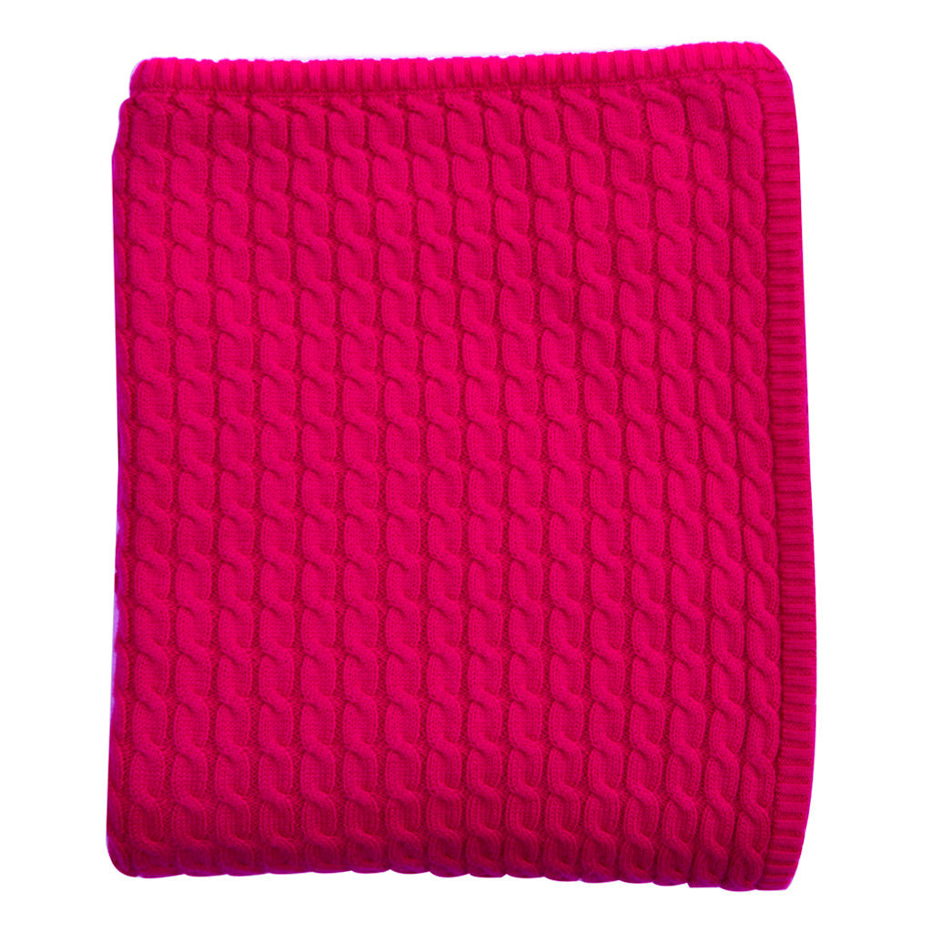 pink cable knit baby blanket