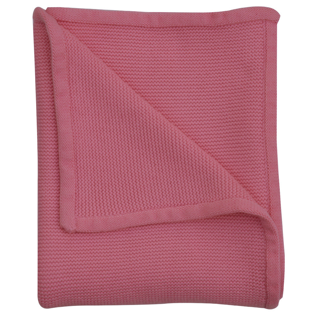 pink wave knit baby blanket