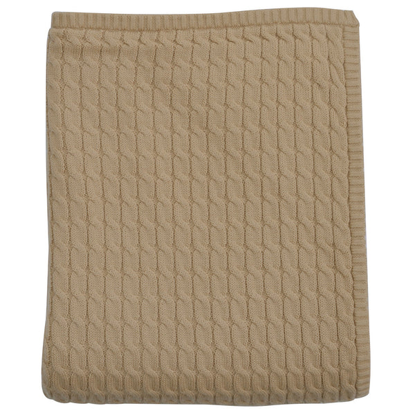 Cable Knit Luxury Cotton Baby Blanket In Caramel Zulunar