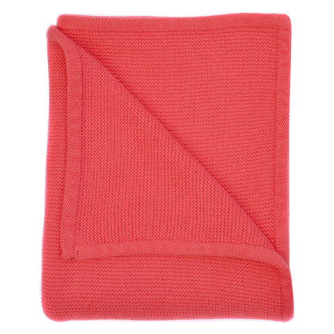 coral pink wave knit baby blanket
