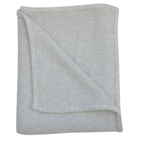 Cable knit luxury cotton baby blanket in indigo marle