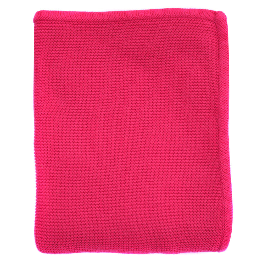 hot pink knitted baby blanket
