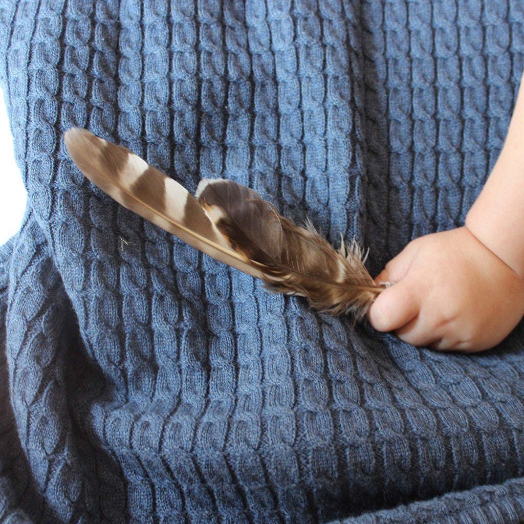 indigo marle baby blanket and feather