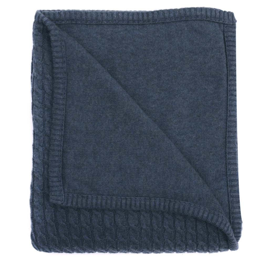 indigo marle cable knit blanket
