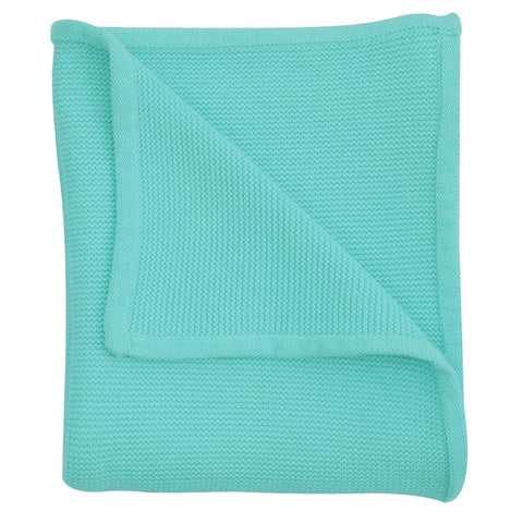bright blue baby knit blanket
