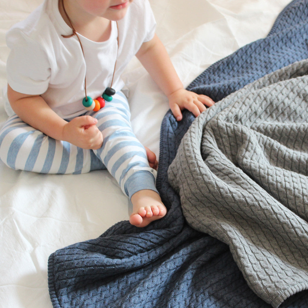 mid marle and indigo marle knit baby blankets