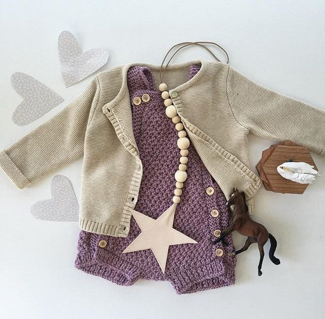 oatmeal baby cardi styled
