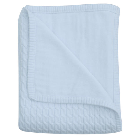 Wave knit luxury cotton baby blanket in antique white