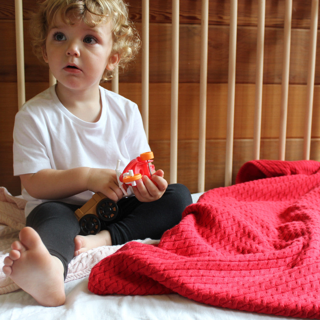 baby and toys with red cable knit blanket