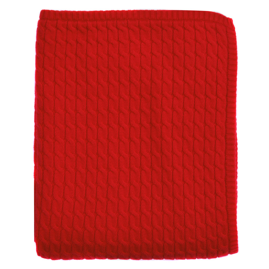 red cable knit baby blanket