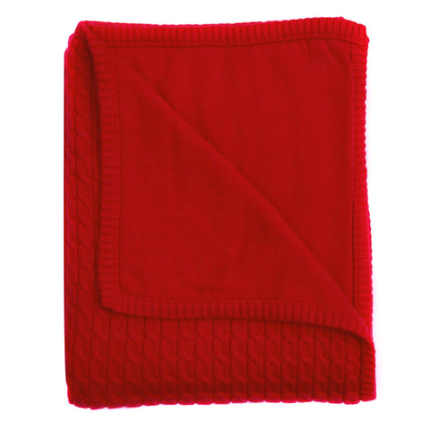 red baby cable knit blanket
