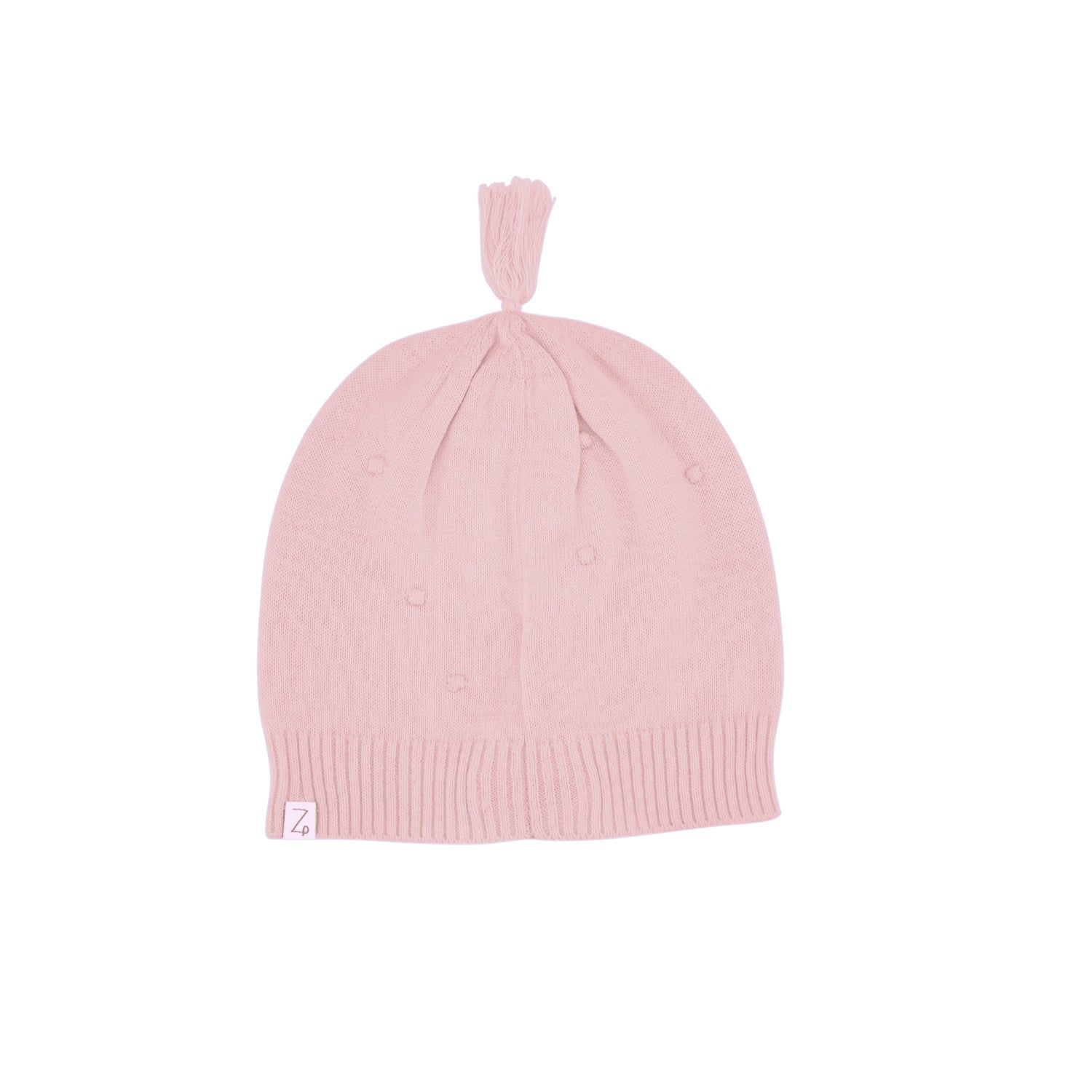pink baby beanie back
