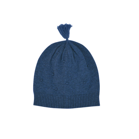 Wave knit luxury cotton baby beanie with turn up in indigo marle